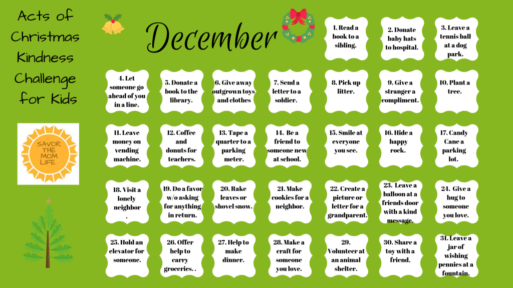 Acts of Christmas Kindness Challenge for Kids