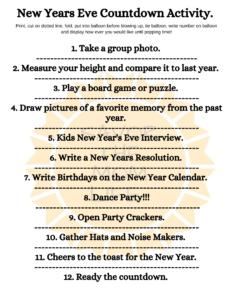 New Years Eve Countdown Activity.