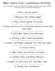 New Years Eve Countdown activity printable.