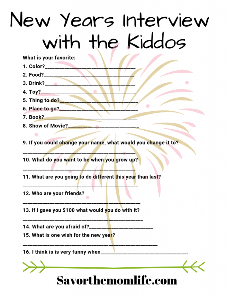 Printable New Years Interview with the Kiddos