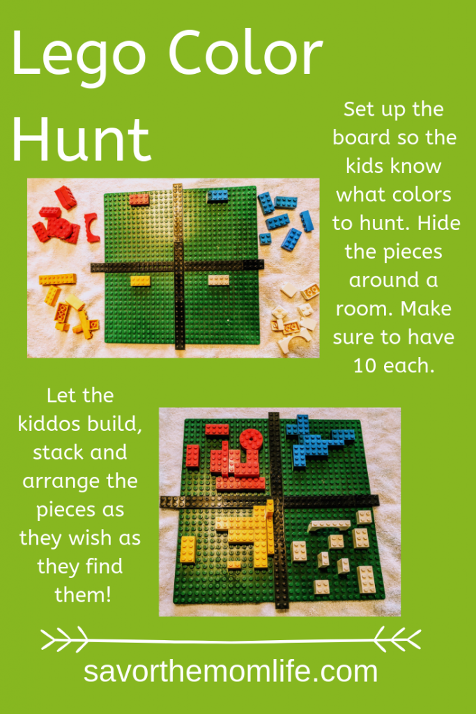 Lego Color Hunt for beating cabin fever with the kids.
