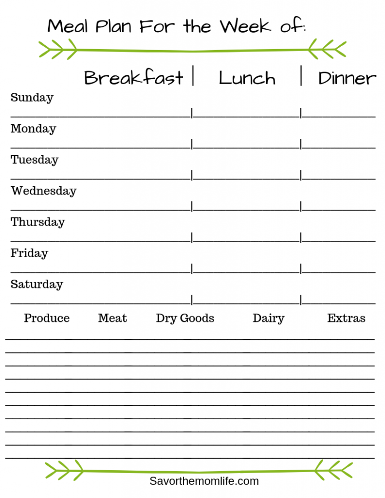 Meal Plan For the Week of_