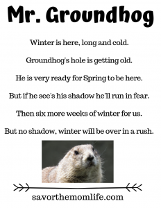 Mr. Groundhog Winter is here, long and cold.   Groundhog's hole is getting old.   He is very ready for Spring to be here.   But if he see's his shadow he'll run in fear.   Then six more weeks of winter for us.   But no shadow, winter will be over in a rush.