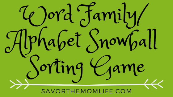 Word Family Alphabet Snowball Sorting Game