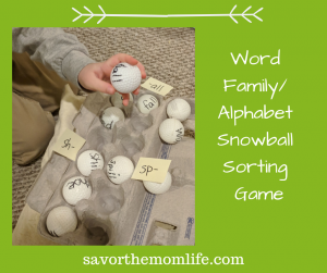 Snowball Word Family or Letter Activity