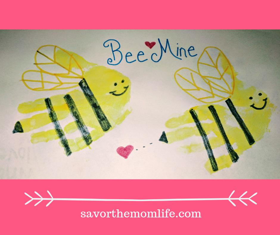 Bee Mine Hand print valentine.