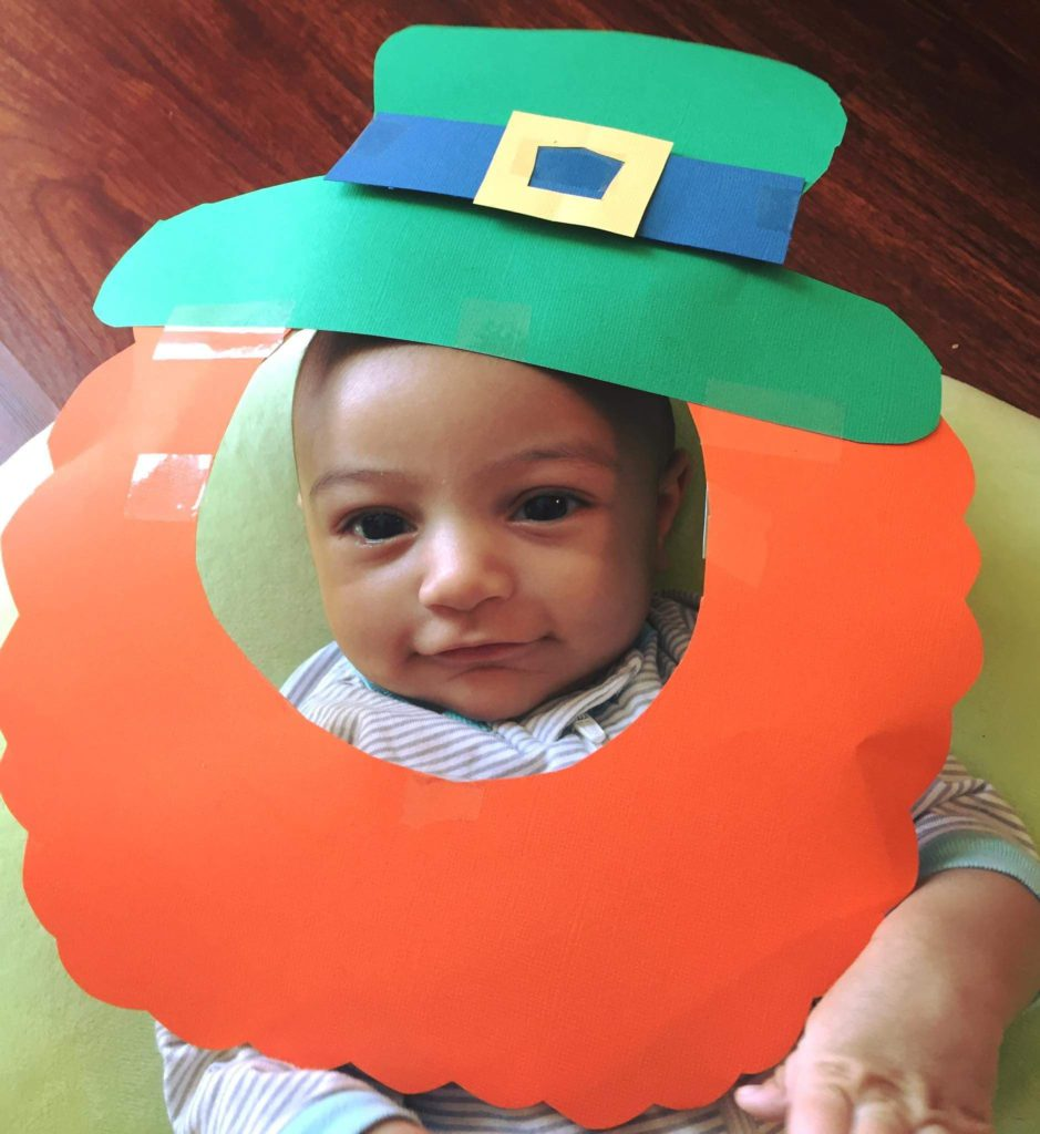 St. Patrick's Day Kid Activities- Baby in a Leprechaun Hat and Beard.