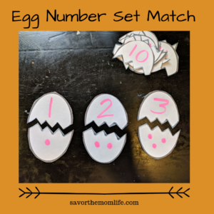 Egg Number Set Match- Easter activities for kids