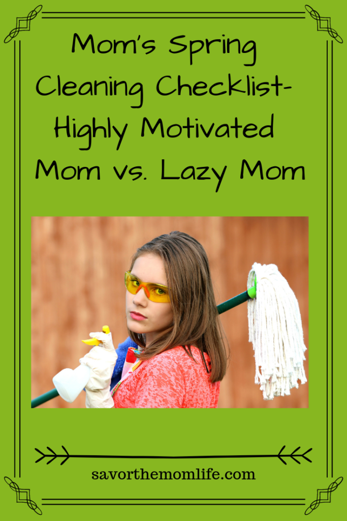 Mom's Spring Cleaning Checklist- Highly Motivated Mom vs. Lazy Mom