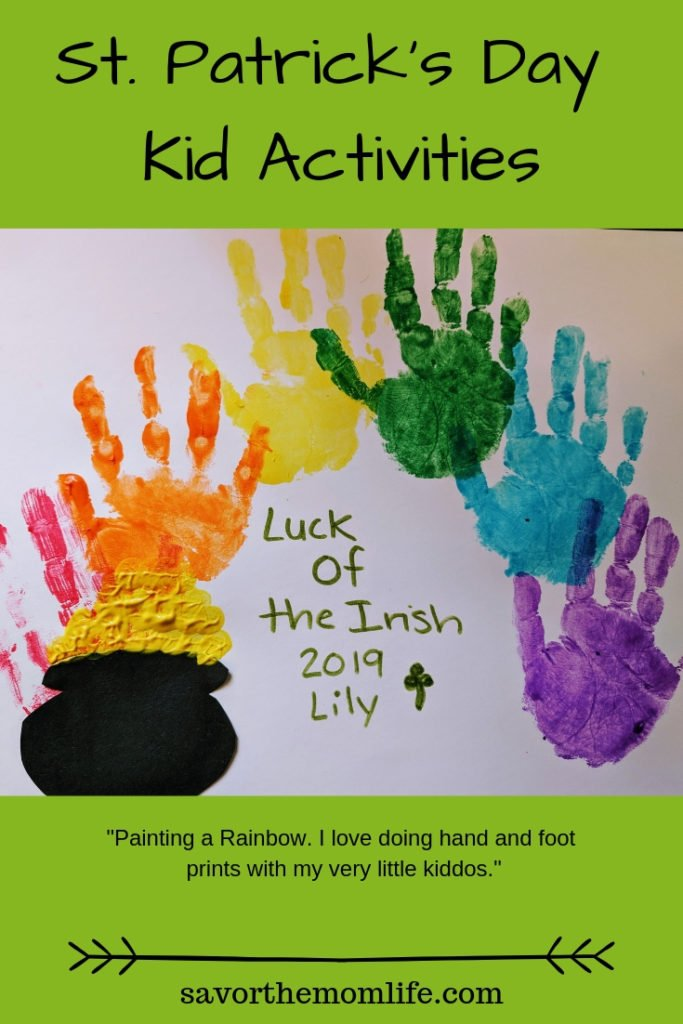 Painting a Rainbow. I love doing hand and foot prints with my very little kiddos. St. Patrick's day Kid Activities.