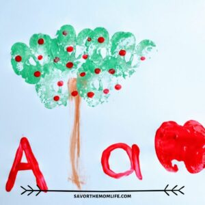 Apple Painting with Kids- Stamp and Apple tree. A is for Apple.