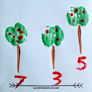 Apple Painting with Kids- Stamping a tree and finger painting apples. Count and draw number.