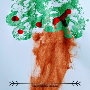 Apple Painting with Kids. Green Apples make the tree, red finger prints make the apples on the tree.