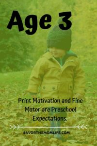 Age 3. Print Motivation and Fine Motor are Preschool Expectations.