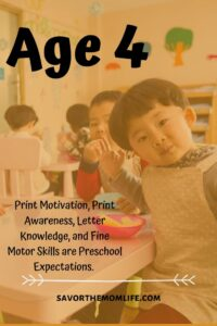 Age 4. Print Motivation, Print Awareness, Letter Knowledge and Fine Motor Skills are Preschool Expectations.