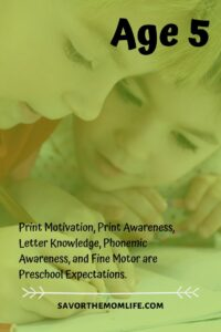 Age 5. Print Motivation, Print Awareness, Letter Knowledge, Phonemic Awareness, and Fine Motor are Preschool Expectations.