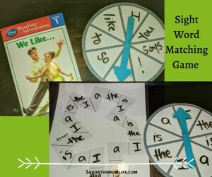 Sight Word Matching Game