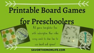 Printable Board Games for Preschoolers. All game templates free with subscription. New videos every week to show how to use board and spinner.