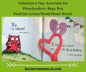 Valentine's Day Activities for Preschoolers- Busy Box Find the letter/ word heart wand.