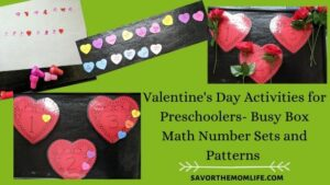 Valentine's Day Activities for Preschoolers- Busy Box Math Number Sets and Patterns
