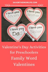 Valentine's Day Activities for Preschoolers- Busy Box Family Word Valentines