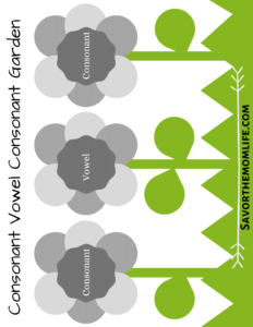 Consonant Vowel Consonant Garden Game Printable.
