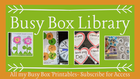 Busy Box Library, All my Busy Box Printables- Subscribe for Access.
