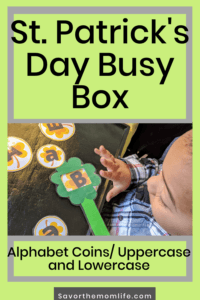St. Patrick's Day Busy Box. Alphabet Coins/ Uppercase and Lowercase.
