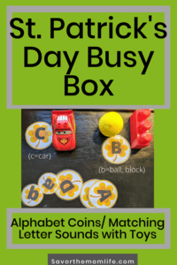 St. Patrick's day Busy Box. Alphabet Coins. Matching Letter Sounds with Toys.