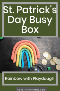 St. Patrick's Day Busy Box. Rainbow with Play Dough