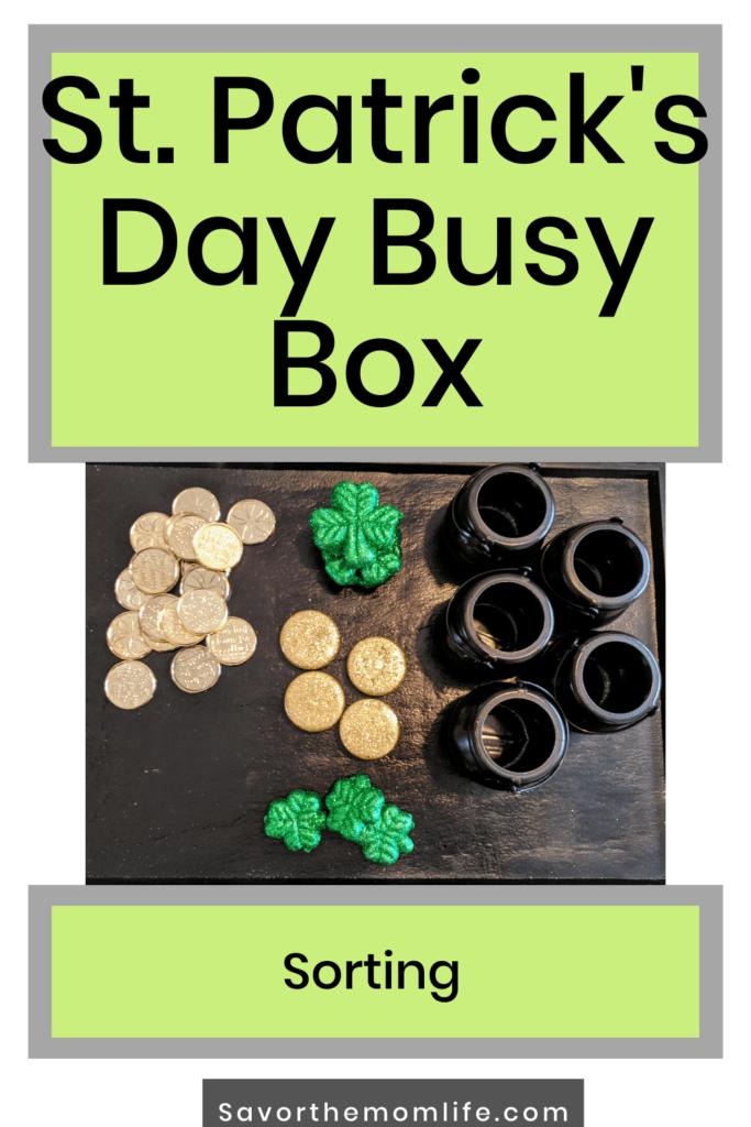 St. Patrick's day Busy Box. Sorting Skills