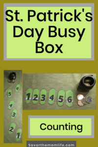 St. Patrick's Day Busy Box. Counting Skills.