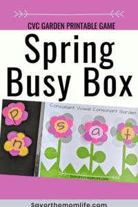 CVC Garden Printable Game. Spring Busy Box for Preschoolers.