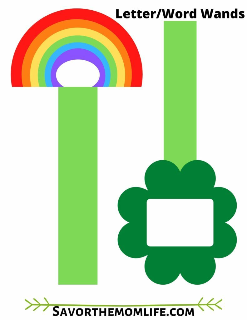 St. Patrick's Word and Letter Wands. 4 Leaf Clover and Rainbow