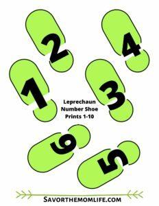 Leprechaun Number Shoe Prints 1-10