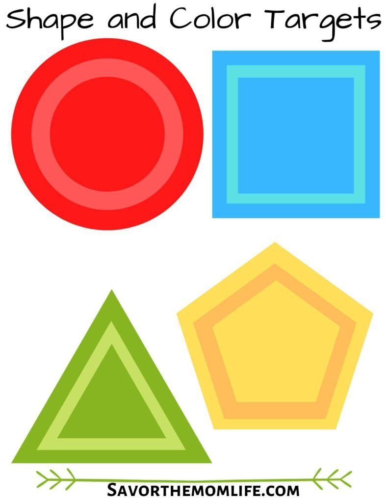 Shape and Color Nerf Dart Targets or Flashcards