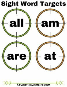 Sight Word Targets