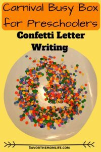Carnival Busy Box for Preschoolers- Confetti Letter Writing. Letter L