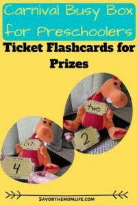 Carnival Busy Box for Preschoolers- Ticket Flashcards for Prizes.