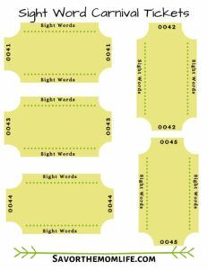 Blank Sight Word Carnival Tickets