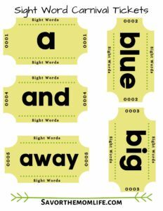 Sight Word Carnival Tickets