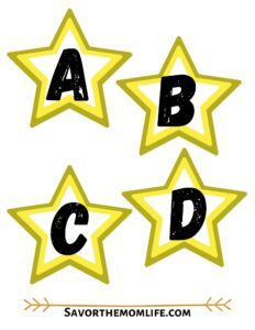Star Alphabet Flashcards. Uppercase and Lowercase.