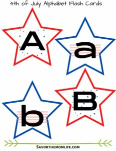 4th of July Alphabet Flashcards