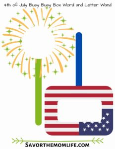 4th of July Busy Busy Box Word and Letter Wand