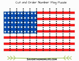 Cut and Order Number Flag Puzzle