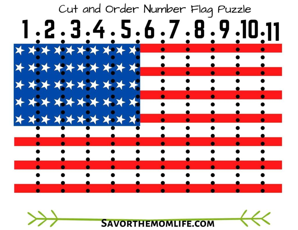 Cut and Order Number Flag Puzzle (Blank one Included)