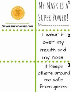 My Mask is A Super Power! Book to, print, assemble, read, and illustrate with your kids.
