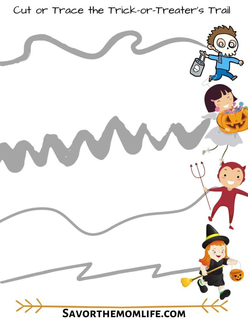 Cut or Trace the Trick-or-Treat-er's Trail