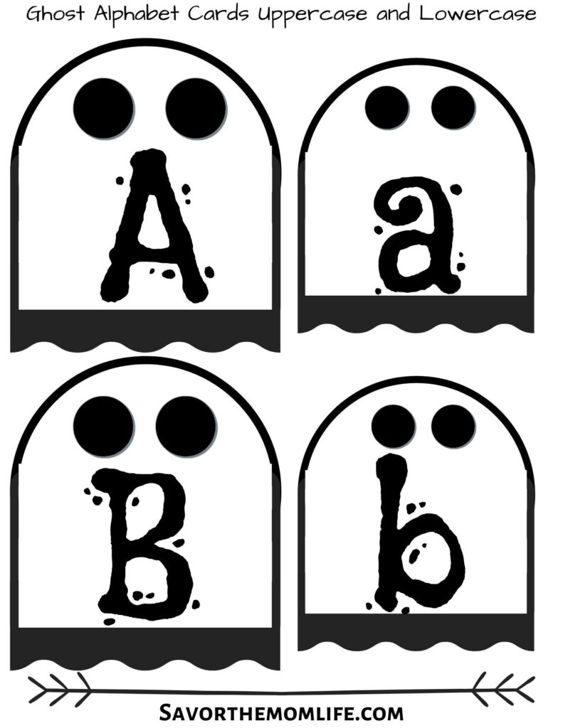 Ghost Alphabet Flash Cards