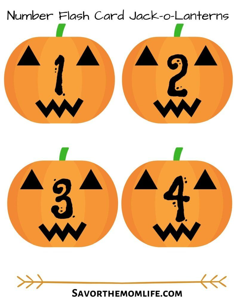 Number Flash Card Jack-o-Lanterns 1-10